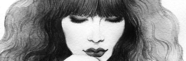 Pencil illustration of a woman.