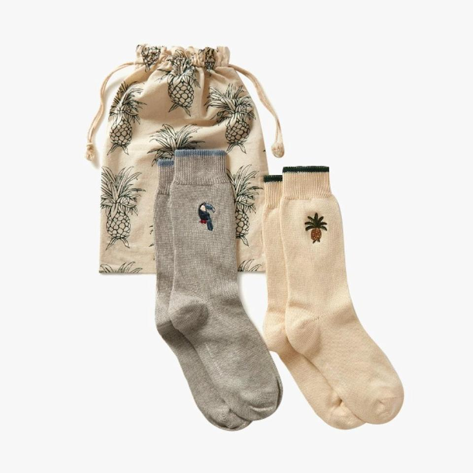 "Consider these cozy Desmond & Dempsey embroidered socks for an easy and chic stocking stuffer for a loved one (or for yourself!). $48, NET-A-PORTER. <a href=""https://www.net-a-porter.com/en-us/shop/product/desmond-and-dempsey/howie-and-bocas-set-of-two-embroidered-cotton-blend-socks/1291083"" rel=""nofollow noopener"" target=""_blank"" data-ylk=""slk:Get it now!"" class=""link rapid-noclick-resp"">Get it now!</a>"