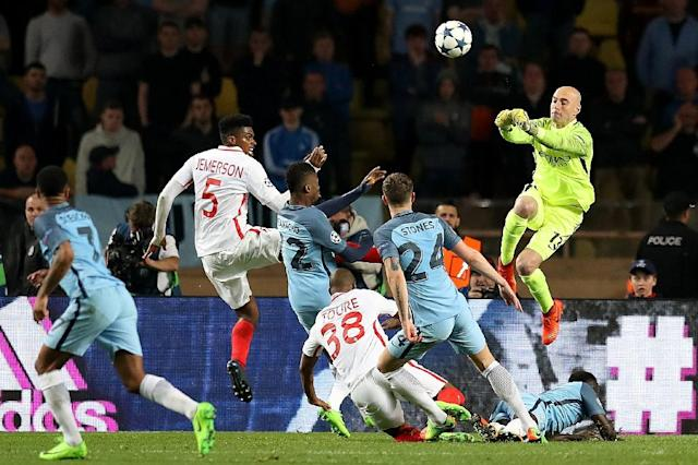 Manchester City was found guilty of three UEFA charges in its match against Monaco at the Stade Louis II in Monaco on March 15, 2017 (AFP Photo/Valery HACHE)