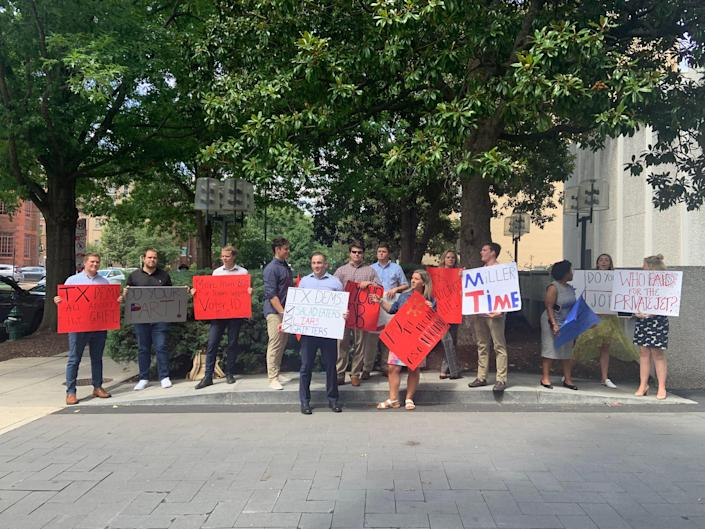 Protesters have their say outside Texas Democrats' Washington hotel July 14.