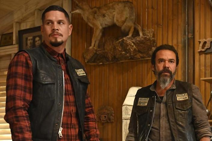 """JD Pardo, left, and Michael Irby in """"Mayans M.C."""" on FX."""