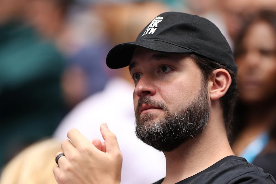 Alexis Ohanian, husband of Serena Williams of the United States looks on following her Women's Singles first round match of the 2020 Australian Open.