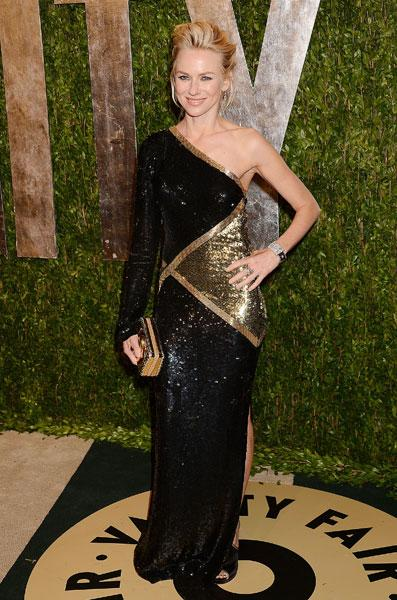 <b>Best dressed: Naomi Watts </b><br><br>The Impossible actress dazzled in this black and gold sequinned Emilio Pucci dress at the Vanity Fair Party.<br><br>Image © Rex