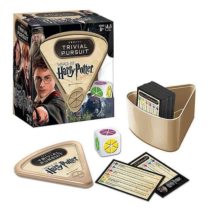 """<p><strong>Harry Potter</strong></p><p>bedbathandbeyond.com</p><p><strong>$19.99</strong></p><p><a href=""""https://go.redirectingat.com?id=74968X1596630&url=https%3A%2F%2Fwww.bedbathandbeyond.com%2Fstore%2Fproduct%2Ftrivial-pursuit-world-of-harry-potter-edition%2F1047532083&sref=https%3A%2F%2Fwww.housebeautiful.com%2Fshopping%2Fg32479102%2Fharry-potter-gifts%2F"""" rel=""""nofollow noopener"""" target=""""_blank"""" data-ylk=""""slk:BUY NOW"""" class=""""link rapid-noclick-resp"""">BUY NOW</a></p><p>Love <em>Harry Potter</em> and trivia? This version of Trivial Pursuit combines the best of both worlds. </p>"""