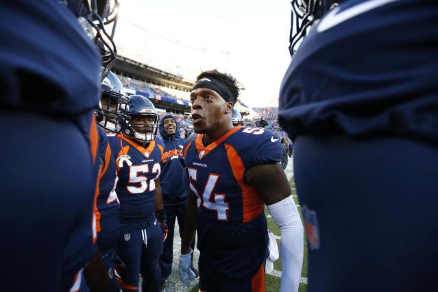 "Denver Broncos linebacker Brandon Marshall called President Trump's recent comment suggesting protesting players be ejected from the United States ""disgusting."" (AP)"