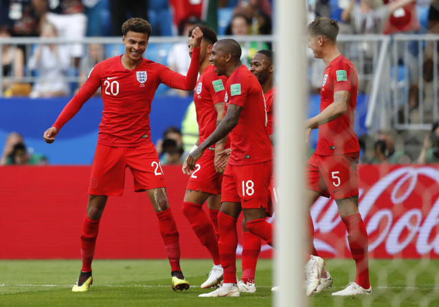 <p>England celebrate going 2-0 up </p>