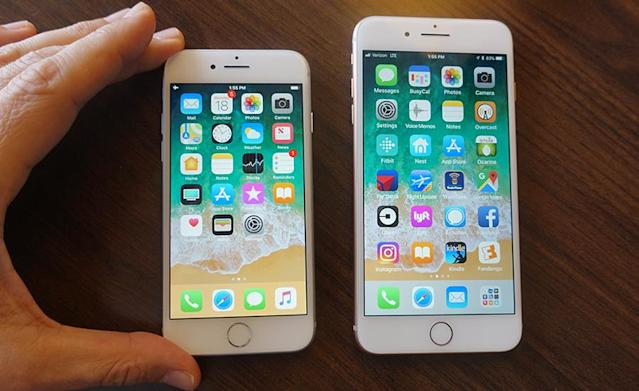 The iPhone 8 and the jumbo-size 8 Plus.