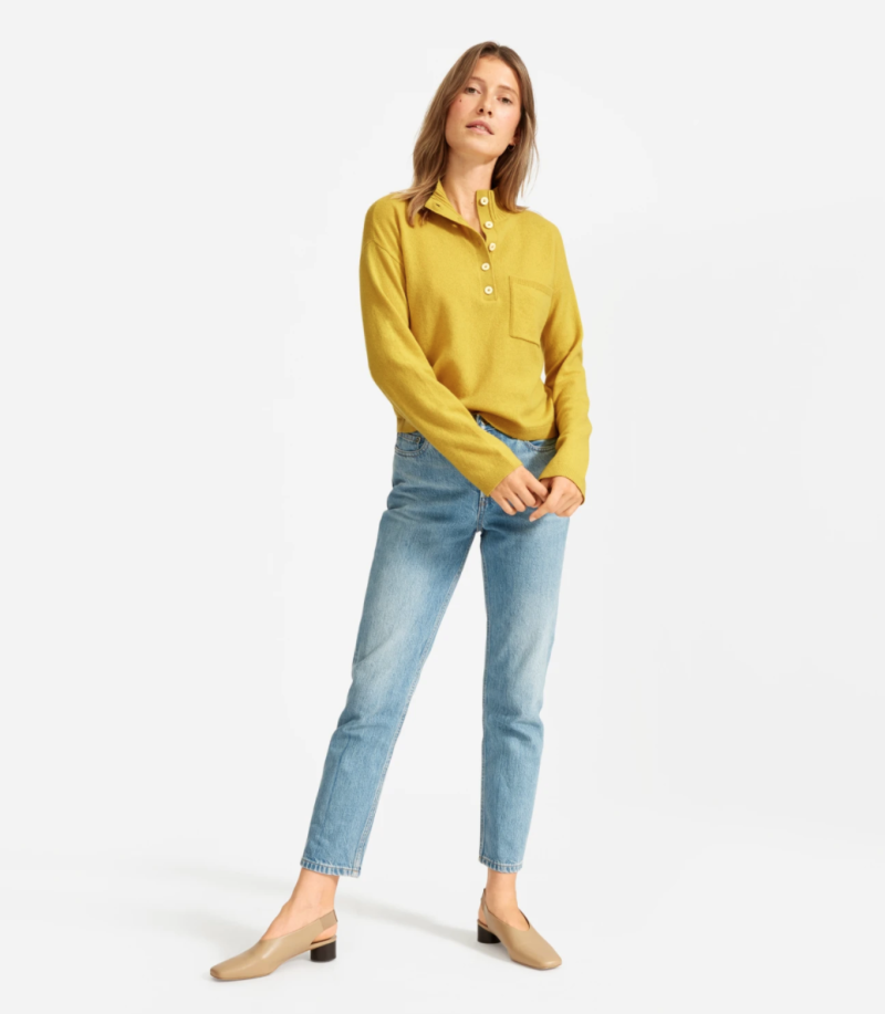 The ReCashmere Button Mockneck in Yellow.