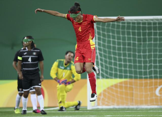 2016 Rio Paralympics - Football Soccer - Men's 5-a-side Preliminaries Pool B - China v Mexico - Olympic Tennis Centre - Rio de Janeiro, Brazil - 11/09/2016. Wei Jiansen (CHN) of China celebrates after scoring. REUTERS/Ueslei Marcelino FOR EDITORIAL USE ONLY, NOT FOR SALE FOR MARKETING OR ADVERTISING CAMPAIGNS.