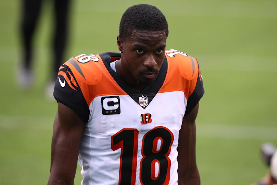 Bengals wide receiver A.J. Green is taking some criticism for looking totally disengaged during a vital play. (Photo by Kyle Ross/Icon Sportswire via Getty Images)