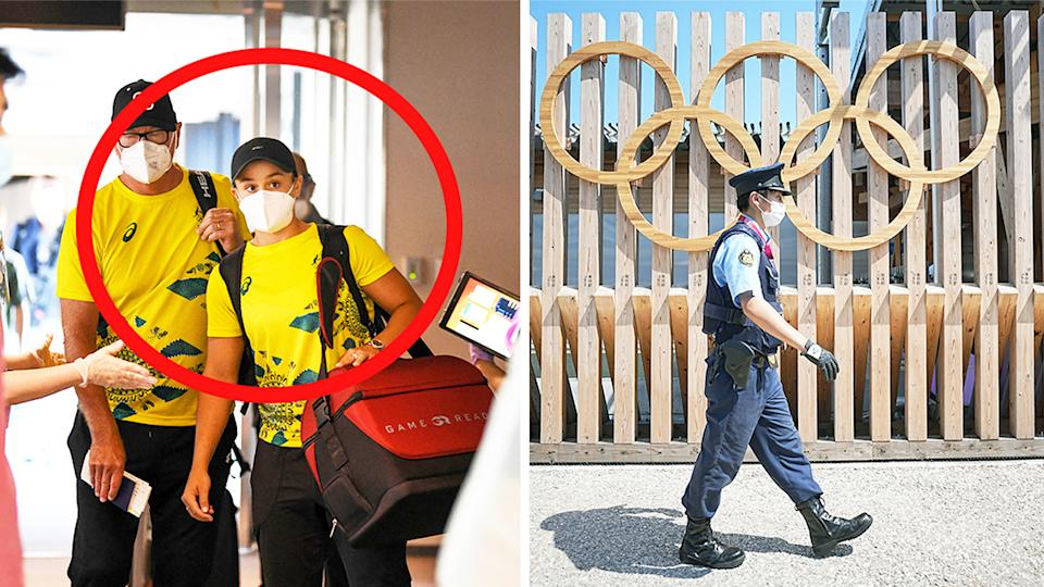 Ash Barty (pictured left) arrives at Tokyo airport wearing a mask and (pictured right) a security guard walking past the Olympic village.