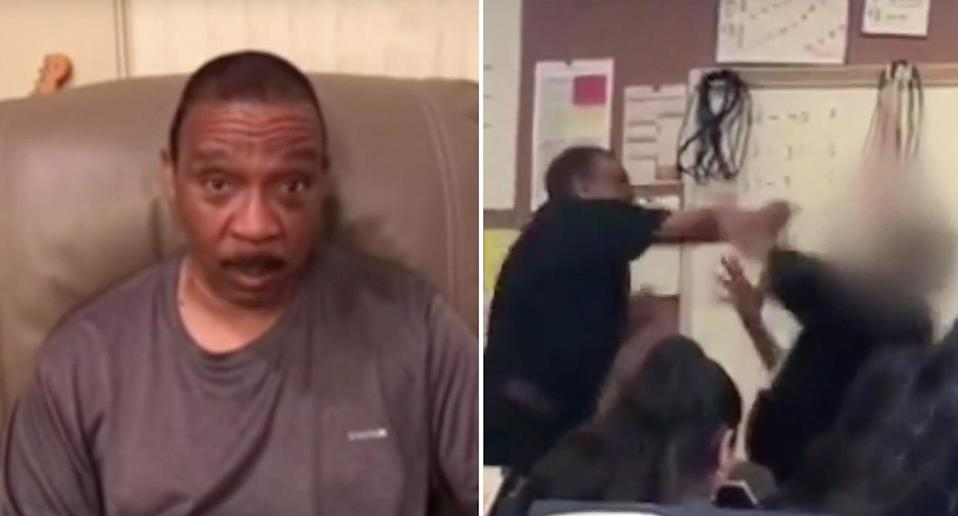 Teacher Marston Riley (left and right) has received community support. Source: GoFundMe (left) and KABC (right)