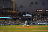 Atlanta Braves starting pitcher Charlie Morton throws during the second inning of the team's baseball game against the Los Angeles Dodgers on Tuesday, Aug. 31, 2021, in Los Angeles. (AP Photo/Marcio Jose Sanchez)