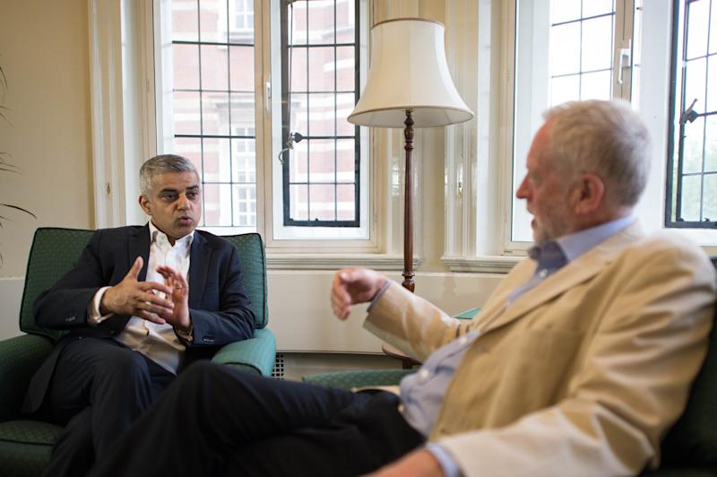 Sadiq Khan and Jeremy Corbyn meet after the Mayoral election in 2016 (PA Archive/PA Images)