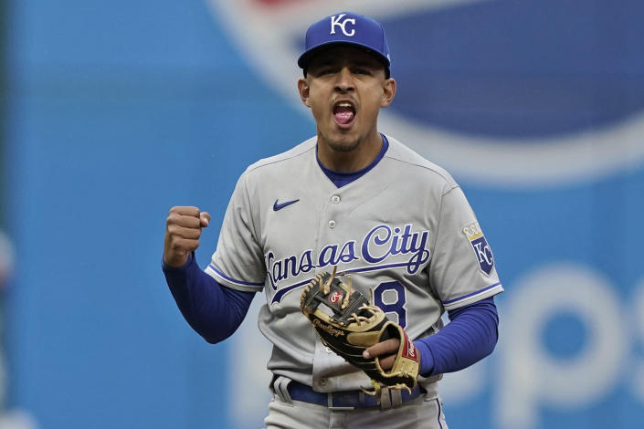Kansas City Royals' Nicky Lopez reacts after getting Cleveland Indians' Jose Ramirez out at second base and Eddie Rosario out in the ninth inning of a baseball game for the double play, Monday, April 5, 2021, in Cleveland. (AP Photo/Tony Dejak)