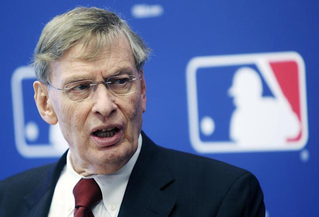 FILE - In this May 17, 2012 file photo, Major League Baseball Commissioner Bud Selig speaks at a news conference after meeting the team owner at MLB headquarters in New York. Baseball Commissioner Bud Selig can envision Montreal making a bid to return to the major leagues, Tuesday, July 15, 2014. (AP Photo/Seth Wenig, File)