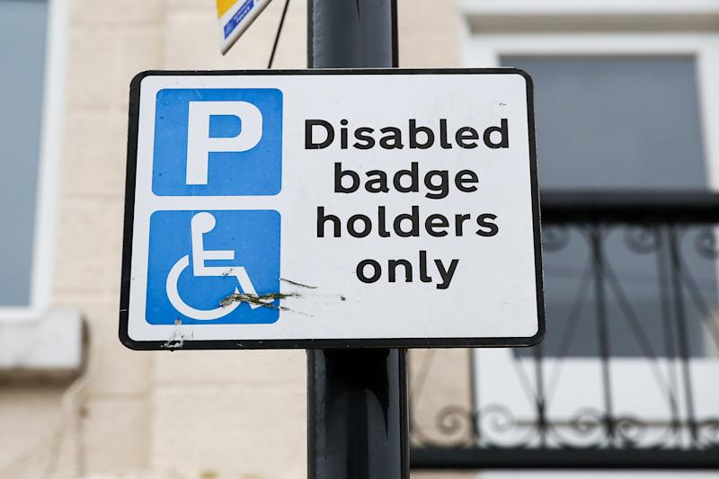 A disabled badge holder only sign is seen in north London. Thousands of people with hidden disabilities have been given blue badge parking permits since new rules were introduced. (Photo by Dinendra Haria / SOPA Images/Sipa USA)