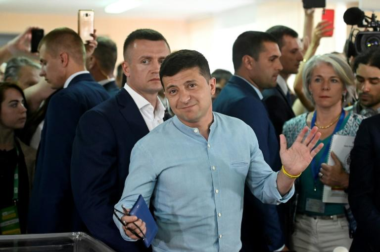 Zelensky's newly-created party was expected to win the largest share of the votes (AFP Photo/GENYA SAVILOV)