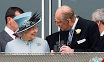 <p>Enjoying Epsom Derby Day from the royal box. </p>