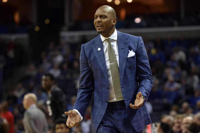 FILE - In this Feb. 7, 2019, file photo, Memphis head coach Penny Hardaway watches during an NCAA college basketball game against Cincinnati in Memphis, Tenn. Former NBA stars Hardaway and Jerry Stackhouse have taken on new challenges with both trying to revive a pair of struggling college basketball programs about 200 miles apart in Tennessee. (AP Photo/Brandon Dill, File)