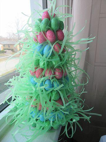 """<p>Those foam craft store trees aren't just for Christmas. All you need is some Easter basket grass, eggs, and a hot glue gun to make this festive egg tree. </p><p><strong>Get the tutorial at <a href=""""https://www.thebeachcardigan.com/blog/easter-tree-diy"""" rel=""""nofollow noopener"""" target=""""_blank"""" data-ylk=""""slk:The Beach Cardigan."""" class=""""link rapid-noclick-resp"""">The Beach Cardigan.</a></strong></p><p><a class=""""link rapid-noclick-resp"""" href=""""https://www.amazon.com/Bleyer-Gifts-FW-1260FD-Green-Bright-Easter/dp/B01ASBOIOE/ref=sr_1_2_sspa?tag=syn-yahoo-20&ascsubtag=%5Bartid%7C10050.g.26498744%5Bsrc%7Cyahoo-us"""" rel=""""nofollow noopener"""" target=""""_blank"""" data-ylk=""""slk:SHOP EASTER GRASS"""">SHOP EASTER GRASS</a></p>"""