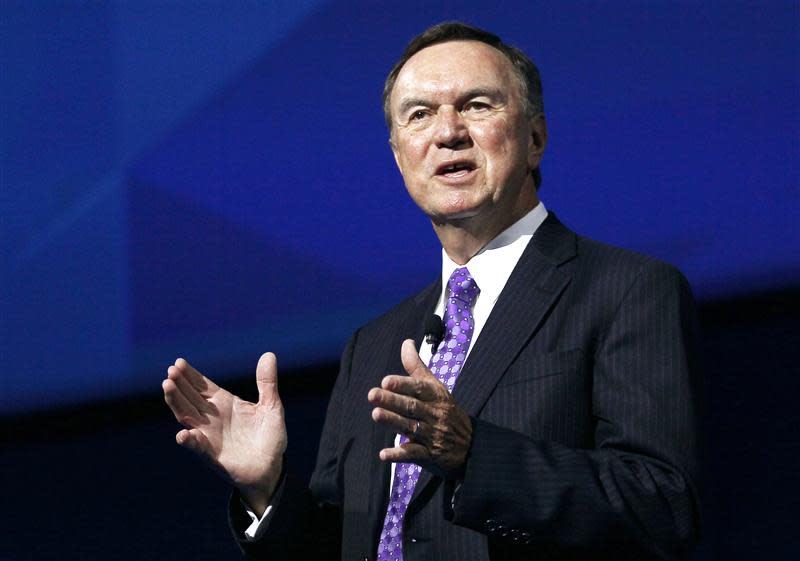 Mike Duke, CEO of Wal-Mart Stores, speaks at annual shareholders meeting in Fayetteville