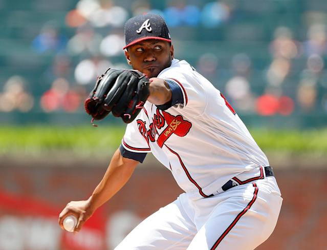 "<a class=""link rapid-noclick-resp"" href=""/mlb/players/8846/"" data-ylk=""slk:Julio Teheran"">Julio Teheran</a> has done little wrong the last six weeks (Kevin C. Cox/Getty Images)"