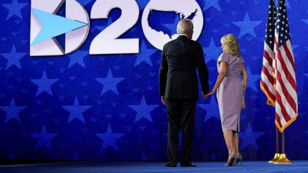 PHOTO: Democratic presidential candidate Joe Biden and his wife Dr. Jill Biden leave the stage following his acceptance speech on the final night of the 2020 Democratic National Convention in Wilmington, Del., Aug. 20, 2020. (Kevin Lamarque/Reuters)