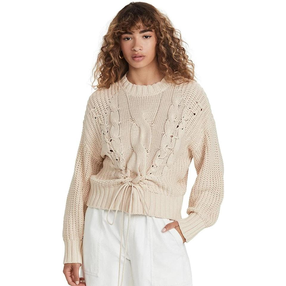 """Cable-knit sweaters can make your look feel bulky, but the subtle waist tie on this fit adds definition, allowing you to wear it over virtually anything in your fall fashion repertoire. $138, Amazon. <a href=""""https://www.amazon.com/525-Womens-Cotton-Sweater-Lacing/dp/B09FN7RB9M/"""" rel=""""nofollow noopener"""" target=""""_blank"""" data-ylk=""""slk:Get it now!"""" class=""""link rapid-noclick-resp"""">Get it now!</a>"""