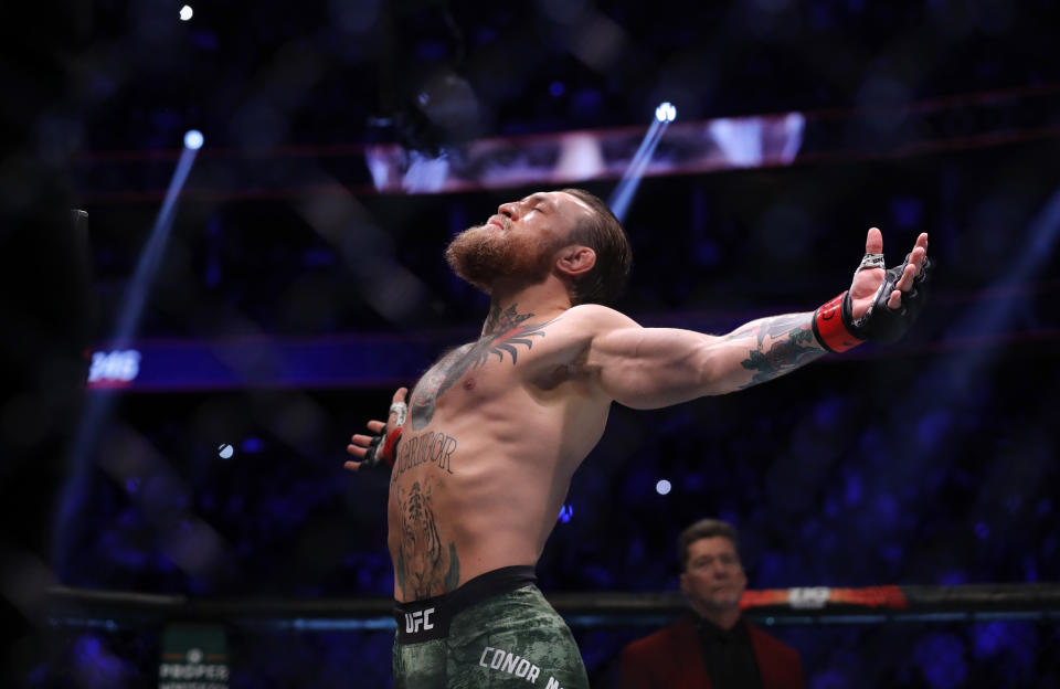 LAS VEGAS, NEVADA - JANUARY 18:  Conor McGregor prepares for his   welterweight bout against Donald Cerrone during UFC246 at T-Mobile Arena on January 18, 2020 in Las Vegas, Nevada.  (Photo by Steve Marcus/Getty Images)