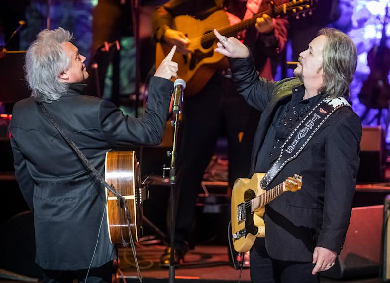 Marty Stuart and Travis Tritt perform during the Medallion Ceremony at the Country Music Hall of Fame Sunday, October 20, 2019.