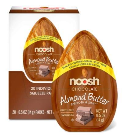 """<p>These <a href=""""https://www.popsugar.com/buy/NOOSH-Chocolate-Almond-Butter-Packets-585348?p_name=NOOSH%20Chocolate%20Almond%20Butter%20Packets&retailer=amazon.com&pid=585348&price=18&evar1=fit%3Aus&evar9=45752863&evar98=https%3A%2F%2Fwww.popsugar.com%2Fphoto-gallery%2F45752863%2Fimage%2F45753403%2FCreamy-Almond-Butter&list1=shopping%2Camazon%2Chealthy%20snacks%2Csnacks%2Clow%20calorie%2Clow-carb&prop13=api&pdata=1"""" class=""""link rapid-noclick-resp"""" rel=""""nofollow noopener"""" target=""""_blank"""" data-ylk=""""slk:NOOSH Chocolate Almond Butter Packets"""">NOOSH Chocolate Almond Butter Packets</a> ($18 for 15) have 80 calories and 3 grams of carbs per serving. So, basically, we just found our new go-to snack.</p>"""
