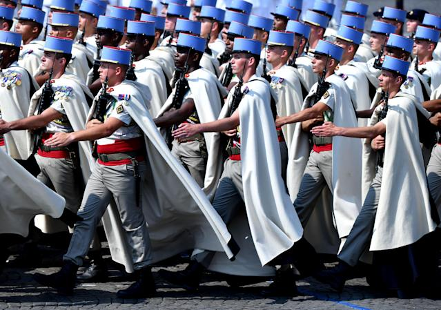 <p>Members of French army march in unison during the annual Bastille Day military parade at the Place de la Concorde in Paris, France, on July 14, 2018. (Photo: Mustafa Yalcin/Anadolu Agency/Getty Images) </p>