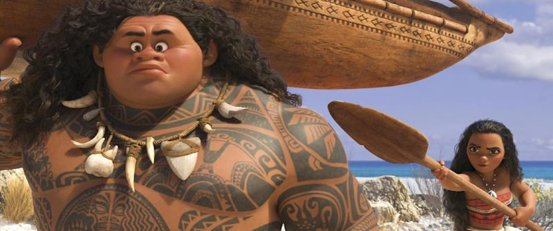 "This image released by Disney shows characters Maui, voiced by Dwayne Johnson, left, and Moana, voiced by Auli'i Cravalho, in a scene from the animated film, ""Moana."" (Disney via AP)"