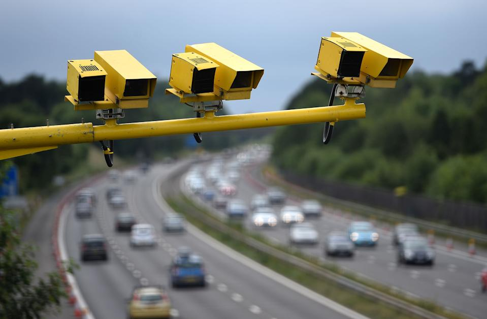 File photo dated 28/06/15 of three SPECS Average Speed cameras in position on the M3 motorway in Hampshire. Thirty-eight British drivers have been caught speeding at least 10 times in the past four years, an investigation has found.