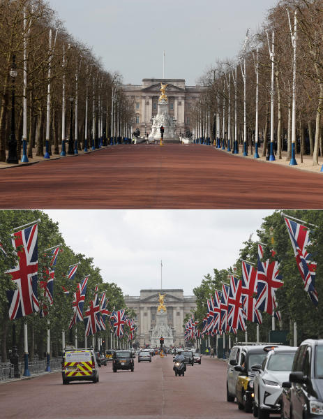A combo of images shows Union flags flying on the Mall leading to Buckingham Palace in preparation for the State Visit of US President Donald Trump, in London on Friday, May 31, 2019 and the deserted scene taken from the same angle on Wednesday, April 1, 2020. (AP Photo/Frank Augstein)