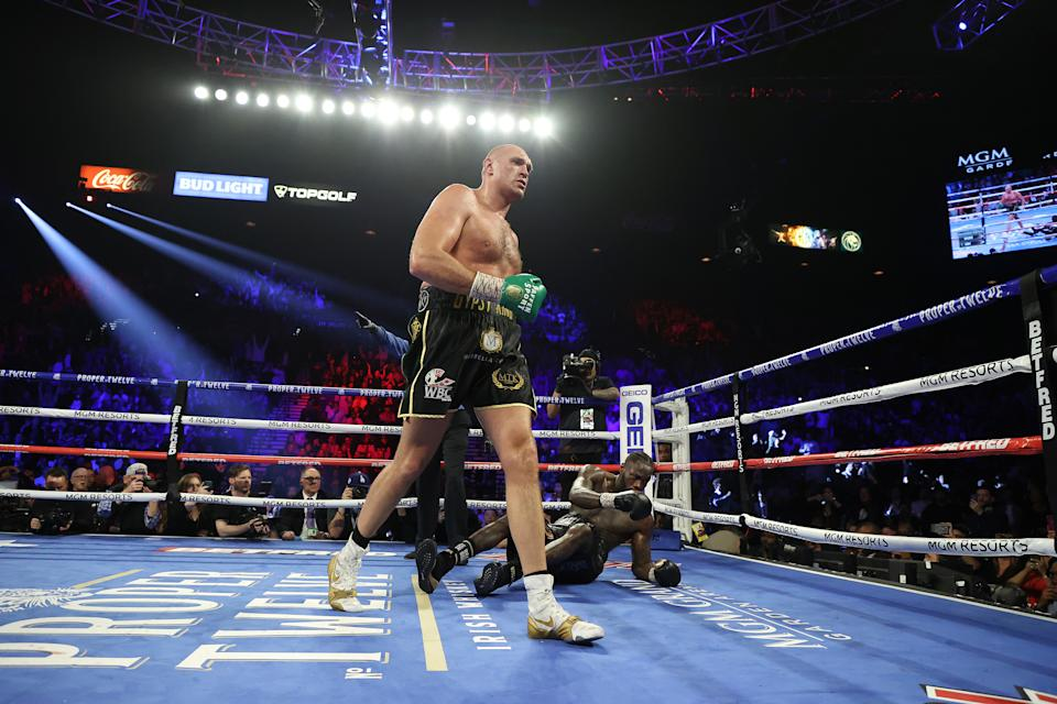 LAS VEGAS, NEVADA - FEBRUARY 22:  Tyson Fury knocks down Deontay Wilder in the fifth round during their Heavyweight bout for Wilder's WBC and Fury's lineal heavyweight title on February 22, 2020 at MGM Grand Garden Arena in Las Vegas, Nevada.  (Photo by Al Bello/Getty Images)