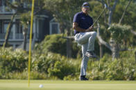 Phil Mickelson misses a putt on the 11th green during the final round at the PGA Championship golf tournament on the Ocean Course, Sunday, May 23, 2021, in Kiawah Island, S.C. (AP Photo/Matt York)