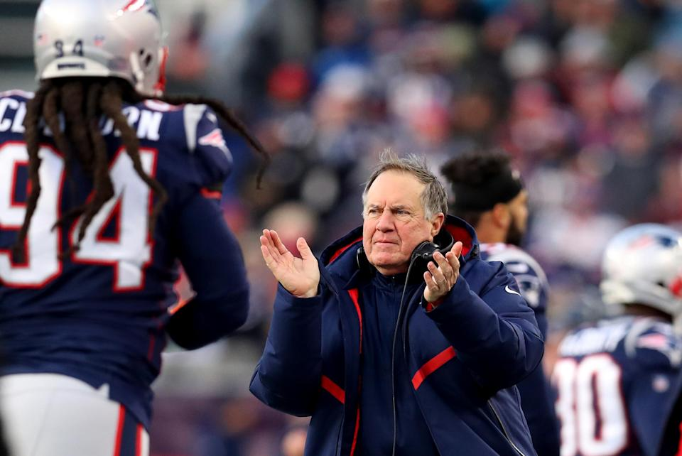 Bill Belichick offered some on-field support to his players on Sunday. (Getty Images)
