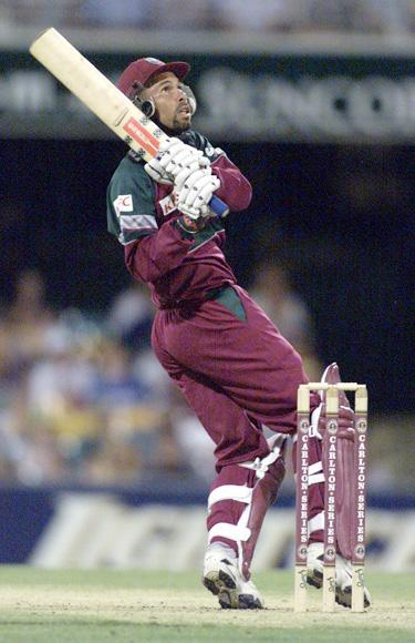 West Indies captain Jimmy Adams pulls during his innings of 24 against Zimbabwe during the Carlton Series limited over game between Zimbabwe and West Indies at The Gabba cricket ground in Brisbane, Australia.x Digital Image Mandatory Credit: Nick Wilson/ALLSPORT