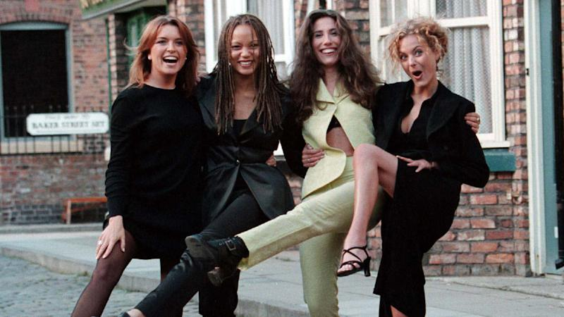 Angela Griffin on the Coronation Street set alongside fellow cast-mates Tina Hobley, Gaynor Faye and Tracy Shaw.