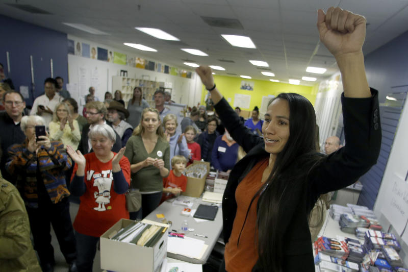 Sharice Davids has another uncommon qualification for politics: her experience in mixed martial arts. (ASSOCIATED PRESS)