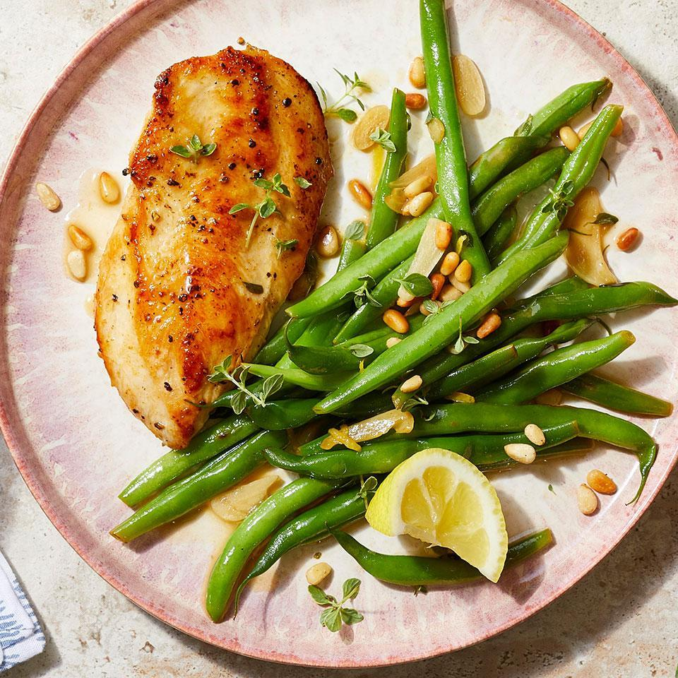 "<p>This easy lemon-garlic chicken recipe calls for cutlets, which cook in less than 10 minutes! Can't find them? Make your own from chicken breasts. Place each breast on a cutting board and, with your knife parallel to the board, slice into the skinny side of the chicken breast in a single smooth motion. The side of green beans is cooked right in the same pan as the chicken, so this 20-minute easy, healthy dinner is not just a snap to prepare--the cleanup is a cinch too. <a href=""http://www.eatingwell.com/recipe/275770/lemon-garlic-chicken-with-green-beans/"" rel=""nofollow noopener"" target=""_blank"" data-ylk=""slk:View recipe"" class=""link rapid-noclick-resp""> View recipe </a></p>"