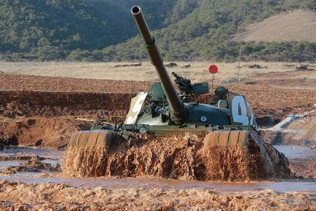 A tank is seen during the Korean People's Army tank crews' competition. REUTERS/KCNA