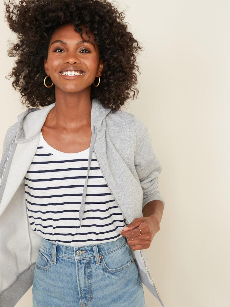 <p>This <span>Old Navy French Terry Zip Hoodie</span> ($20, originally $35) is a perfect layering piece.</p>