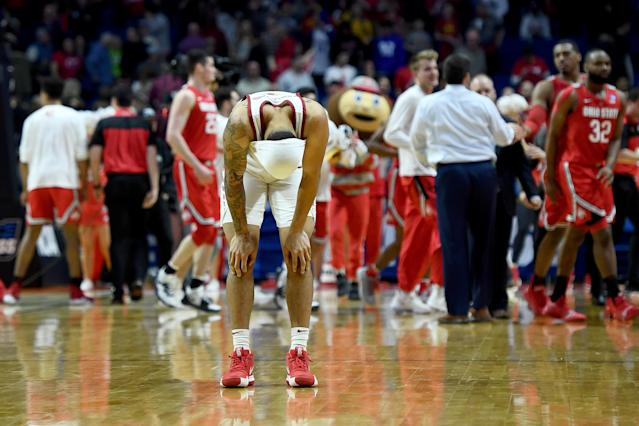 <p>Nick Weiler-Babb #1 of the Iowa State Cyclones reacts after being defeated by the Ohio State Buckeyes in the first round game of the 2019 NCAA Men's Basketball Tournament at BOK Center on March 22, 2019 in Tulsa, Oklahoma. (Photo by Stacy Revere/Getty Images) </p>