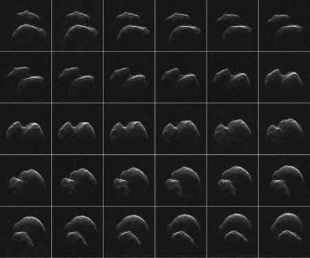 Thirty images of asteroid 2014 JO25 which was generated with radar data collected using NASA's Goldstone Solar System Radar in California's Mojave Desert, in a composite image released April 18, 2017. Asteroid 2014 J025, discovered in May 2014, will be the largest asteroid to come this near to planet Earth since 2004, flying by at only about 4.6 times the distance from the Earth to the Moon, 1.1 million miles (1.8 million km). NASA/JPL-Caltech/GSSR via REUTERS
