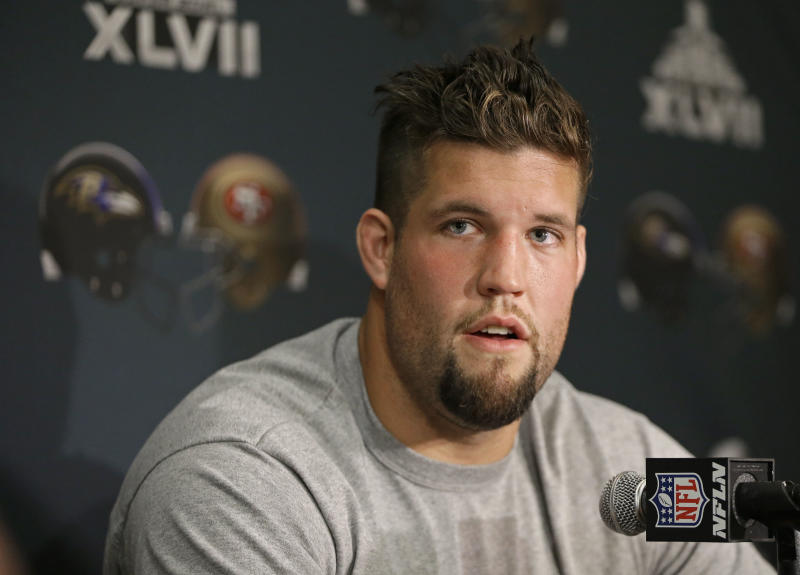 San Francisco 49ers guard Alex Boone talks with reporters during a news conference on Monday, Jan. 28, 2013, in New Orleans. The 49ers are scheduled to play the Baltimore Ravens in the NFL Super Bowl XLVII football game on Feb. 3. (AP Photo/Mark Humphrey)
