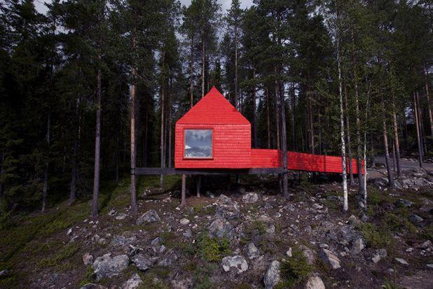 """<p>Not all treehouses blend in with nature—this <span class=""""redactor-unlink"""">vacation rental in Sweden</span> looks made for Instagram with a bright red paint job.</p><p><a class=""""link rapid-noclick-resp"""" href=""""https://go.redirectingat.com?id=74968X1596630&url=https%3A%2F%2Fwww.tripadvisor.com%2FHotel_Review-g6200614-d1872348-Reviews-Treehotel-Harads_Norrbotten_County.html%23%2Fmedia%2F1872348%2F422847719%3Ap%2F%3Falbumid%3D101%26type%3D0%26category%3D101&sref=https%3A%2F%2Fwww.housebeautiful.com%2Fdesign-inspiration%2Fhouse-tours%2Fg3301%2Famazing-tree-house-homes%2F"""" rel=""""nofollow noopener"""" target=""""_blank"""" data-ylk=""""slk:BOOK NOW"""">BOOK NOW</a> <strong><em>The Blue Cone</em></strong><br></p>"""
