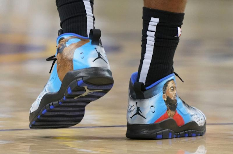 April 13, 2019; Oakland, CA, USA; Detail view of Nike shoes worn by LA Clippers forward Montrezl Harrell (5) during the second quarter in game one of the first round of the 2019 NBA Playoffs against the Golden State Warriors at Oracle Arena. Mandatory Credit: Kyle Terada-USA TODAY Sports
